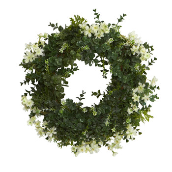 18 Eucalyptus and Dancing Daisy Double Ring Artificial Wreath with Twig Base - SKU #W1007