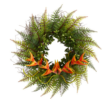 23 Assorted Fern and Mini Heliconia Artificial Wreath - SKU #W1009