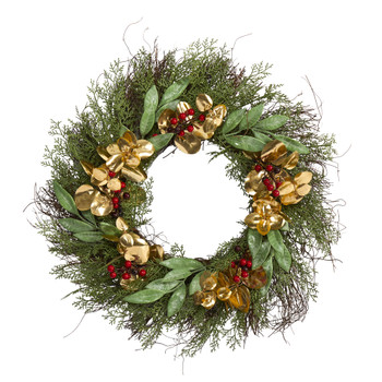 20 Cedar Ruscus Berries and Golden Eucalyptus Artificial Wreath - SKU #W1010