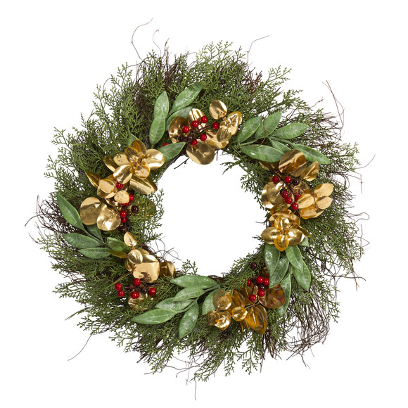 20 Cedar Ruscus Berries and Golden Eucalyptus Artificial Wreath - SKU #W1010
