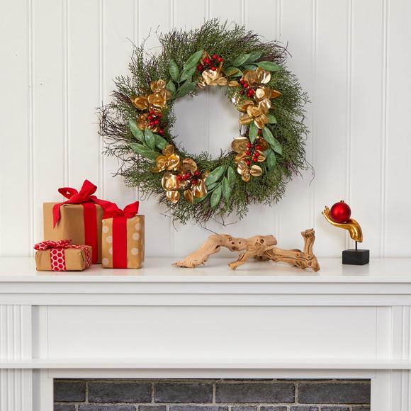 20 Cedar Ruscus Berries and Golden Eucalyptus Artificial Wreath - SKU #W1010 - 2