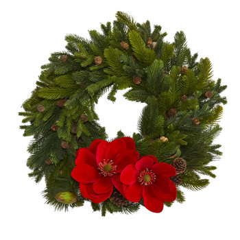 30 Magnolia Pine and Pinecone Artificial Wreath - SKU #W1011