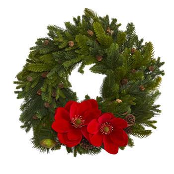 30 Magnolia Pine and Pinecone Artificial Wreath - SKU #W1011