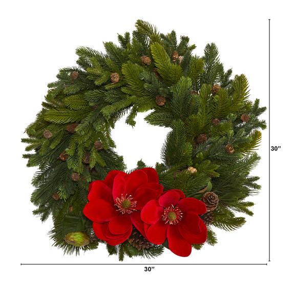 30 Magnolia Pine and Pinecone Artificial Wreath - SKU #W1011 - 1