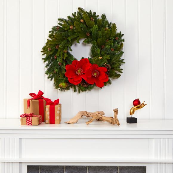 30 Magnolia Pine and Pinecone Artificial Wreath - SKU #W1011 - 2