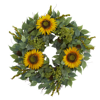 23 Mixed Greens and Sunflower Artificial Wreath - SKU #W1012