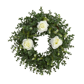 18 Eucalyptus and Rose Double Ring Artificial Wreath with Twig Base - SKU #W1013