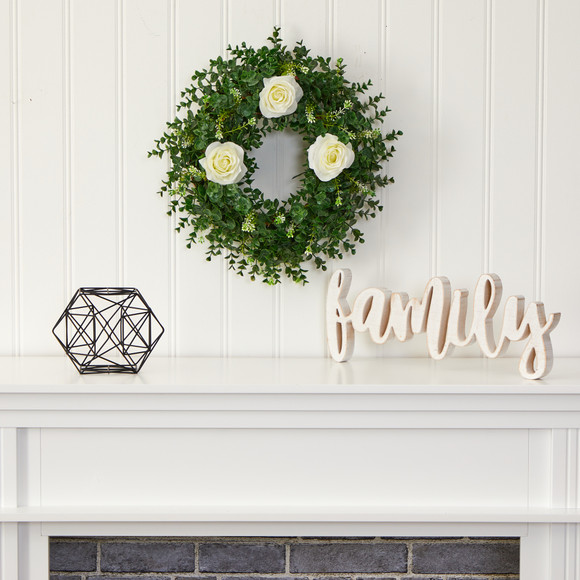 18 Eucalyptus and Rose Double Ring Artificial Wreath with Twig Base - SKU #W1013 - 2