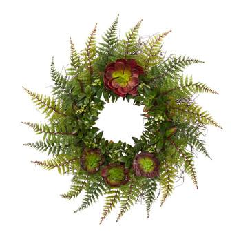 23 Assorted Fern and Echeveria Succulent Artificial Wreath - SKU #W1014