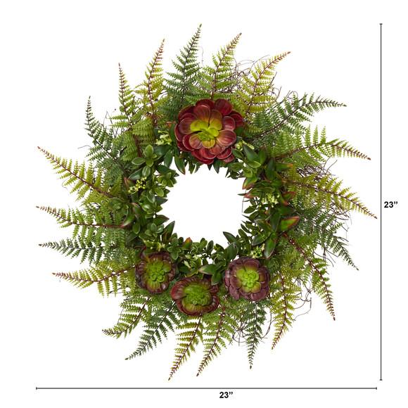 23 Assorted Fern and Echeveria Succulent Artificial Wreath - SKU #W1014 - 1