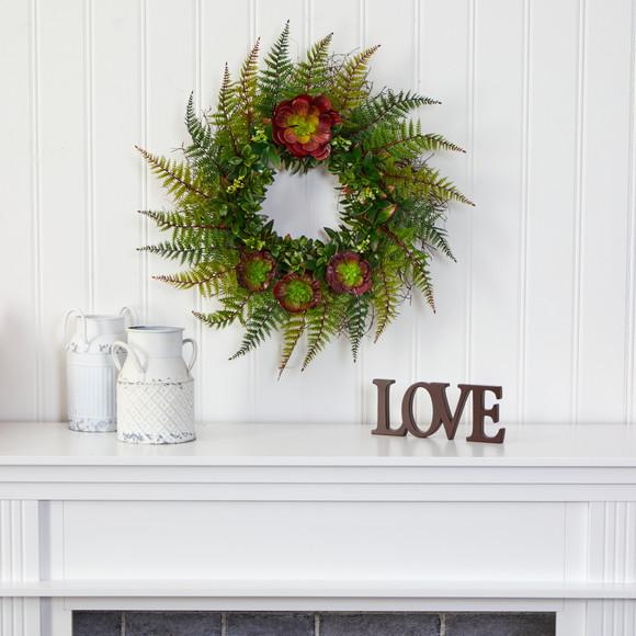 23 Assorted Fern and Echeveria Succulent Artificial Wreath - SKU #W1014 - 2