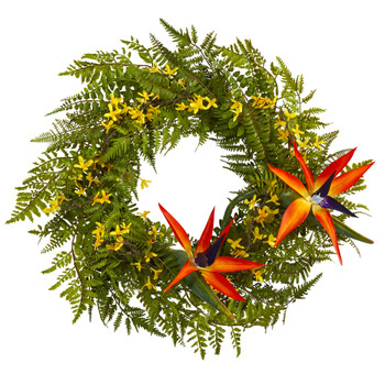24 Mixed Fern Forsythia and Bird of Paradise Artificial Wreath - SKU #W1015