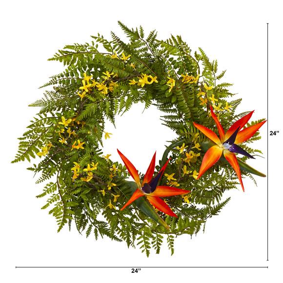 24 Mixed Fern Forsythia and Bird of Paradise Artificial Wreath - SKU #W1015 - 1