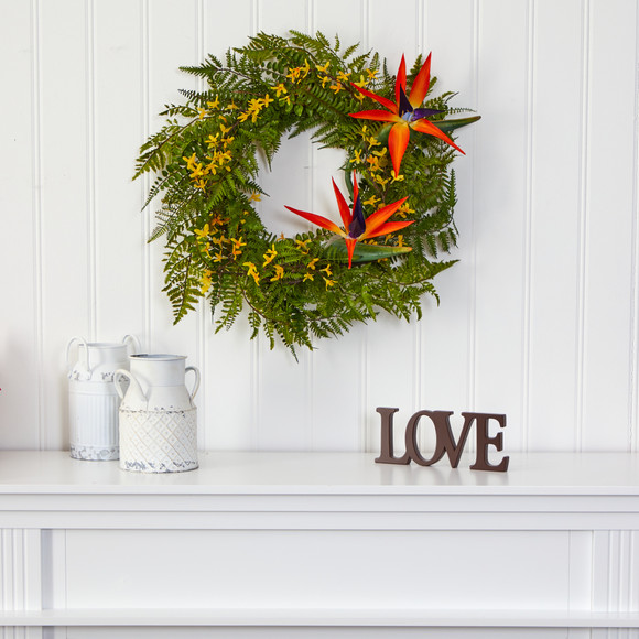 24 Mixed Fern Forsythia and Bird of Paradise Artificial Wreath - SKU #W1015 - 2