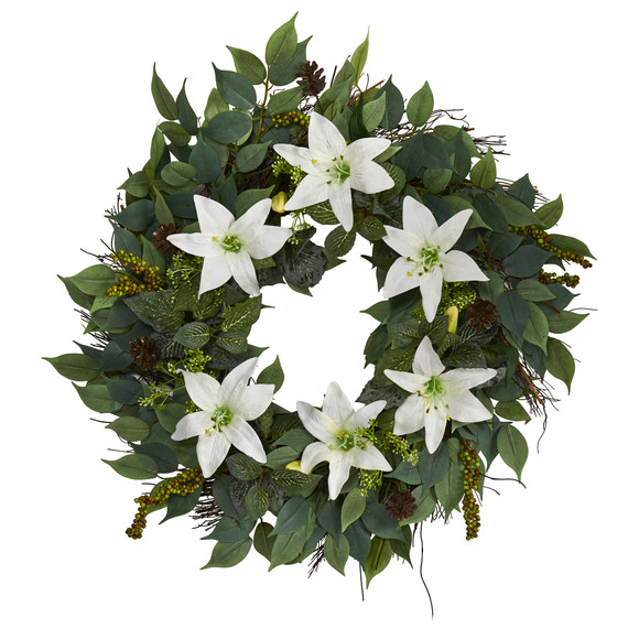 23 Mixed Ruscus Lily Fittonia and Berries Artificial Wreath - SKU #W1017