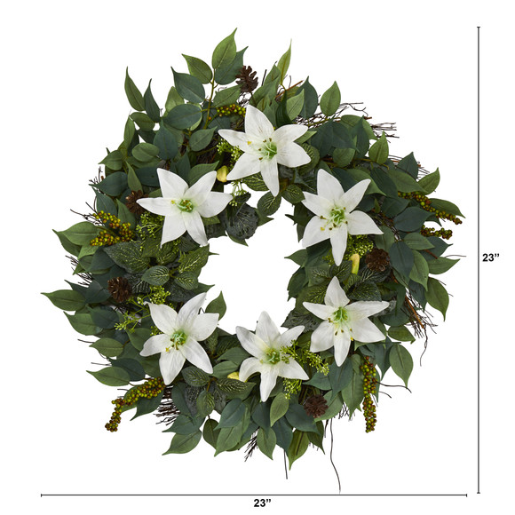 23 Mixed Ruscus Lily Fittonia and Berries Artificial Wreath - SKU #W1017 - 1