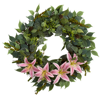 23 Mixed Ruscus Lily Fittonia and Berries Artificial Wreath - SKU #W1018
