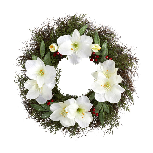 20 Cedar Amaryllis and Ruscus with Berries Artificial Wreath - SKU #W1019