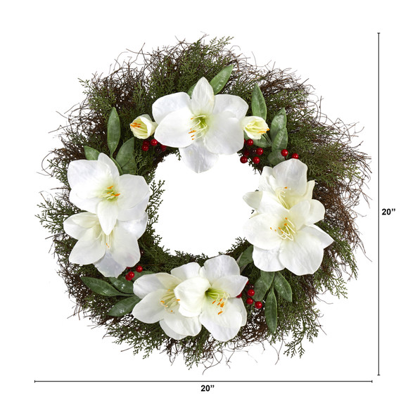 20 Cedar Amaryllis and Ruscus with Berries Artificial Wreath - SKU #W1019 - 1