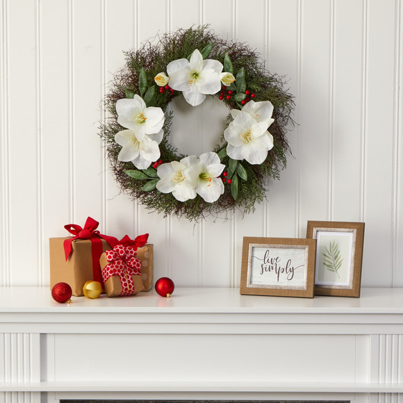 20 Cedar Amaryllis and Ruscus with Berries Artificial Wreath - SKU #W1019 - 2