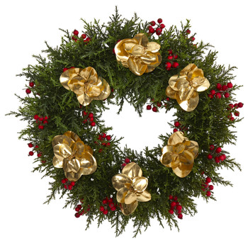 20 Cedar Berry and Metallic Eucalyptus Artificial Wreath - SKU #W1020
