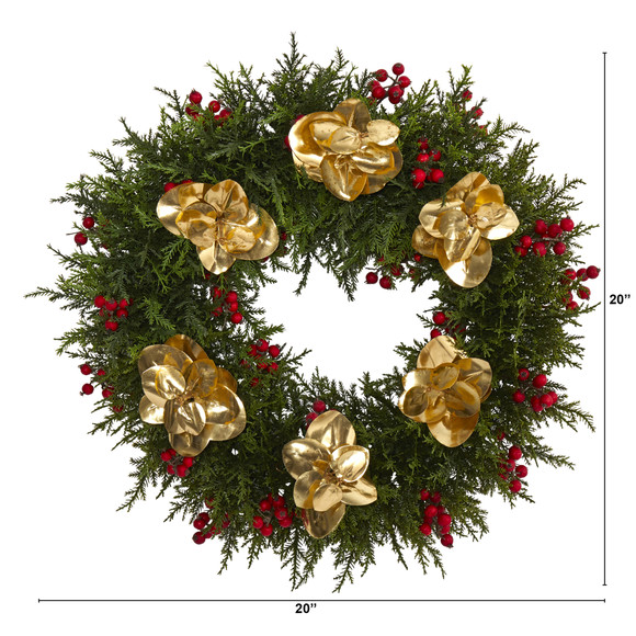 20 Cedar Berry and Metallic Eucalyptus Artificial Wreath - SKU #W1020 - 1