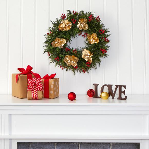 20 Cedar Berry and Metallic Eucalyptus Artificial Wreath - SKU #W1020 - 2