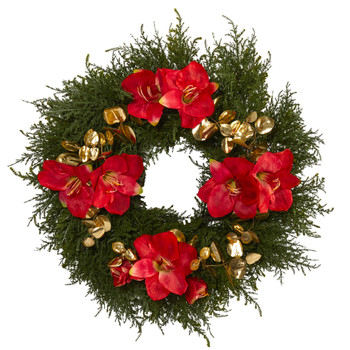 24 Cedar Amaryllis and Metallic Eucalyptus Artificial Wreath - SKU #W1021