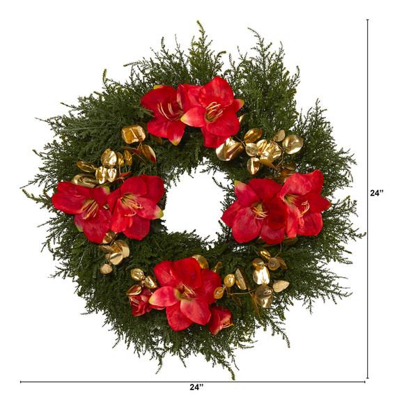24 Cedar Amaryllis and Metallic Eucalyptus Artificial Wreath - SKU #W1021 - 1