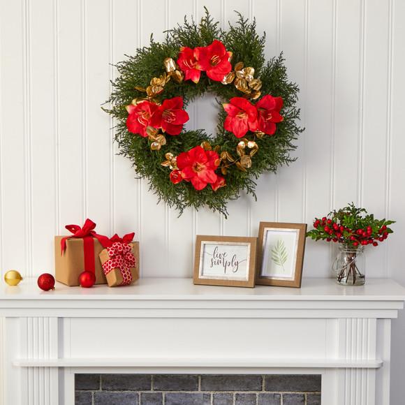 24 Cedar Amaryllis and Metallic Eucalyptus Artificial Wreath - SKU #W1021 - 2