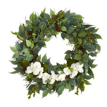 23 Mixed Greens and Begonia Artificial Wreath - SKU #W1022