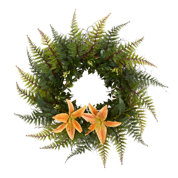 23 Assorted Fern and Lily Artificial Wreath - SKU #W1023