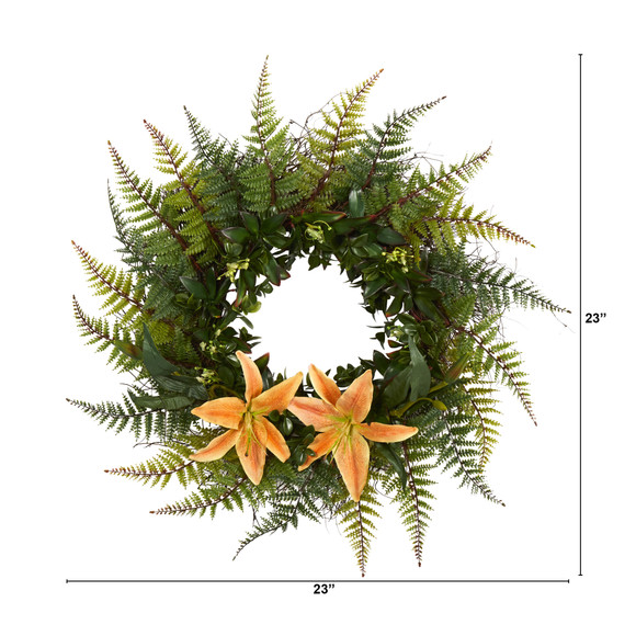 23 Assorted Fern and Lily Artificial Wreath - SKU #W1023 - 1