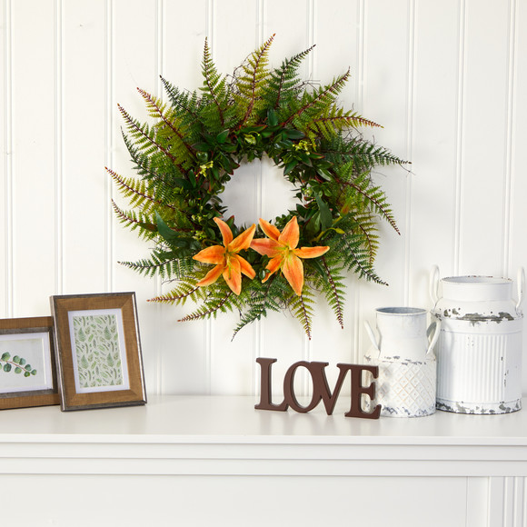 23 Assorted Fern and Lily Artificial Wreath - SKU #W1023 - 2