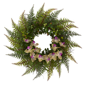 23 Fern and Phalaenopsis Orchid Artificial Wreath - SKU #W1024