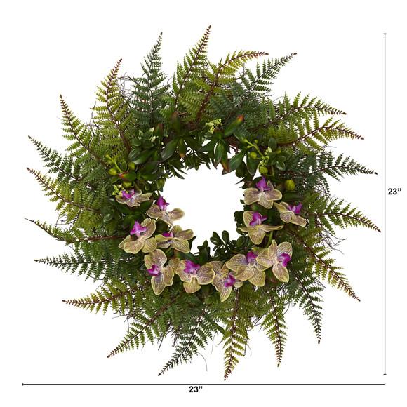 23 Fern and Phalaenopsis Orchid Artificial Wreath - SKU #W1024 - 1