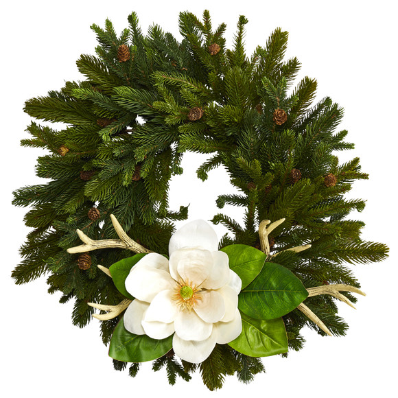 22 Pine Pinecone Magnolia and Antler Artificial Wreath - SKU #W1025