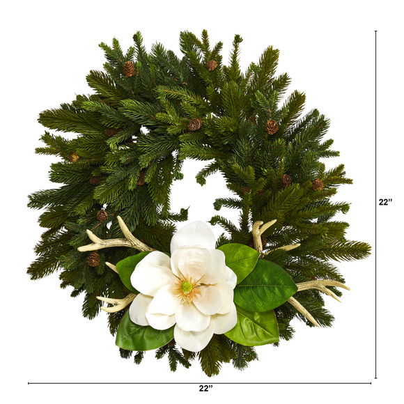 22 Pine Pinecone Magnolia and Antler Artificial Wreath - SKU #W1025 - 1