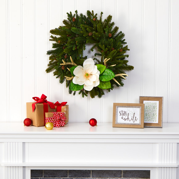 22 Pine Pinecone Magnolia and Antler Artificial Wreath - SKU #W1025 - 2