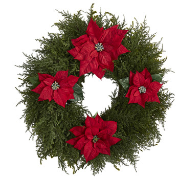 24 Cedar and Poinsettia Artificial Wreath - SKU #W1026