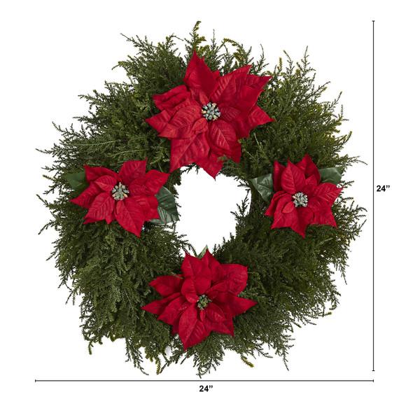 24 Cedar and Poinsettia Artificial Wreath - SKU #W1026 - 1