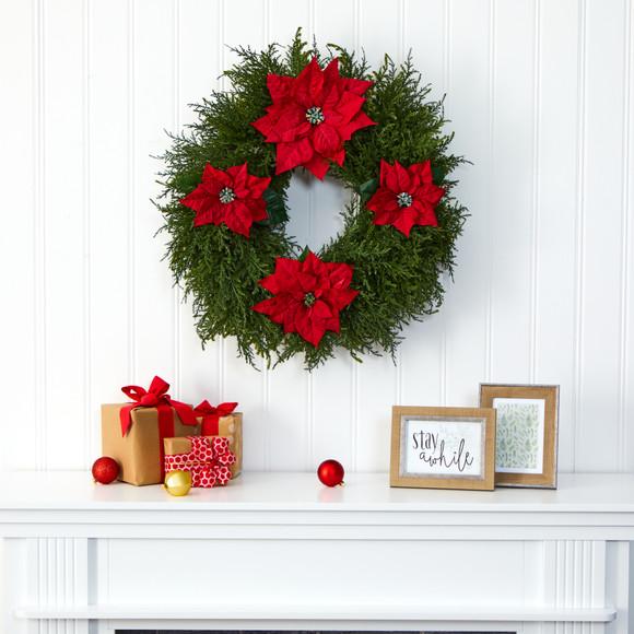 24 Cedar and Poinsettia Artificial Wreath - SKU #W1026 - 2