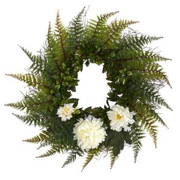 23 Assorted Fern and Chrysanthemum Artificial Wreath - SKU #W1027-CR