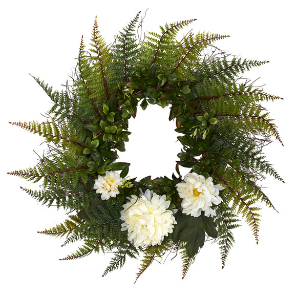 23 Assorted Fern and Chrysanthemum Artificial Wreath - SKU #W1027 - 3