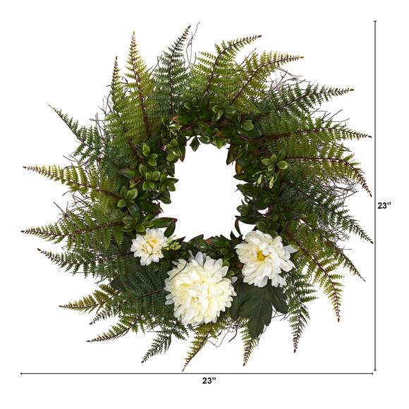 23 Assorted Fern and Chrysanthemum Artificial Wreath - SKU #W1027 - 4