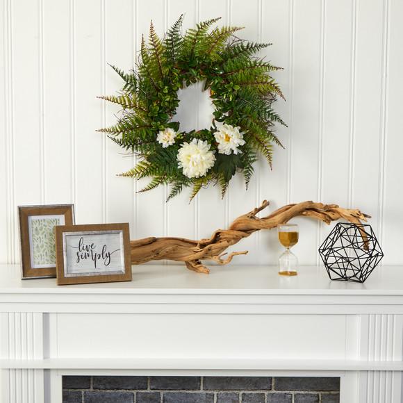 23 Assorted Fern and Chrysanthemum Artificial Wreath - SKU #W1027 - 5
