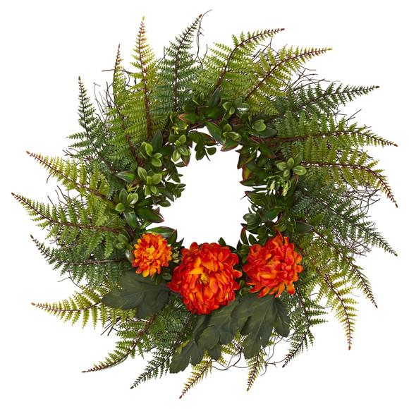 23 Assorted Fern and Chrysanthemum Artificial Wreath - SKU #W1027 - 6