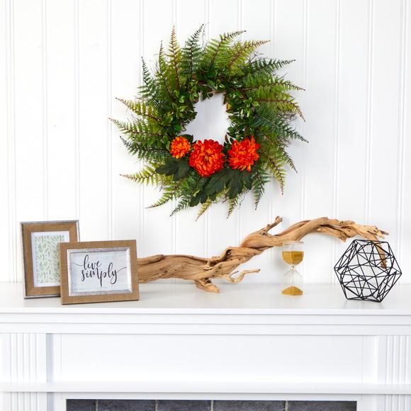 23 Assorted Fern and Chrysanthemum Artificial Wreath - SKU #W1027 - 8