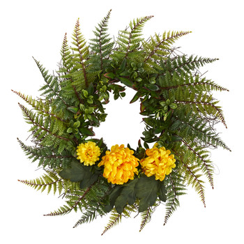 23 Assorted Fern and Chrysanthemum Artificial Wreath - SKU #W1027-YL