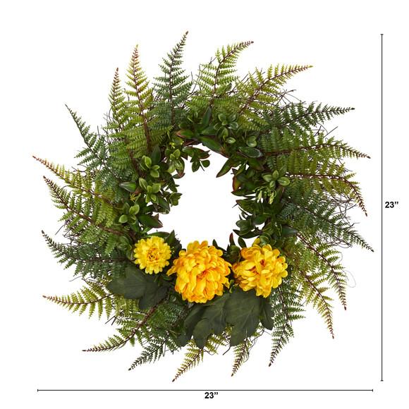 23 Assorted Fern and Chrysanthemum Artificial Wreath - SKU #W1027 - 1